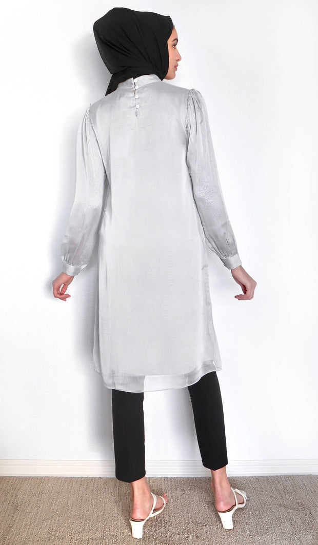 Naeema Embroidered Long Modest Midi Dress - Silver Mist