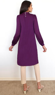 Naeema Embroidered Long Modest Midi Dress - Purple Orchid - PREORDER