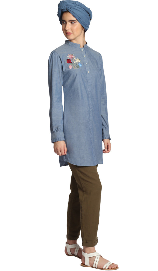 Nafis Long Embroidered Buttondown Shirt - Blue