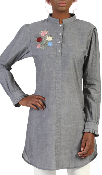 Nafis Long Embroidered Buttondown Dress Shirt - Gray