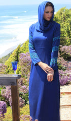 Najma Embroidered Formal Abaya Maxi Dress - Royal Blue