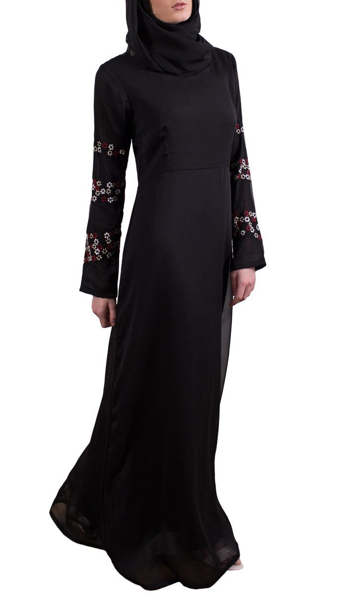Najma Embroidered Formal Abaya Maxi Dress - Black