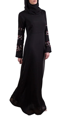 Najma Embroidered Formal Maxi Abaya Dress - Black
