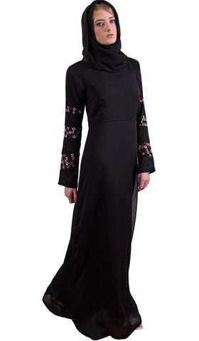 Najma Embroidered Formal Abaya Maxi Dress - Black - Preorder