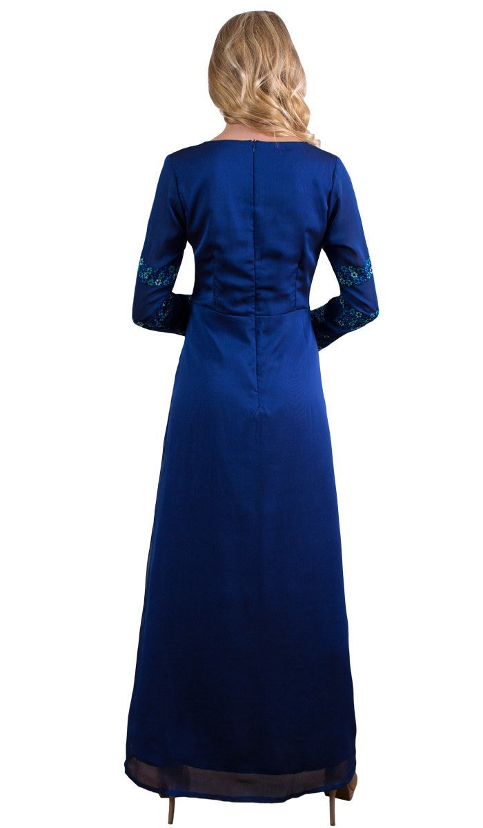 Najma Embroidered Formal Abaya Maxi Dress - Royal Blue - ARTIZARA.COM
