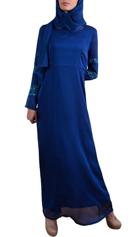 Najma Embroidered Formal Abaya Maxi Dress - Royal Blue - Preorder