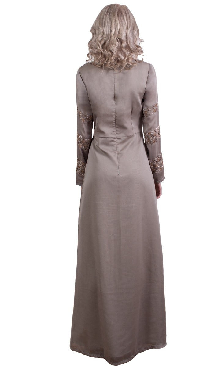 Najma Embroidered Formal Abaya Maxi Dress - Mocha