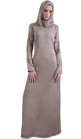 Najma Embroidered Formal Abaya Maxi Dress - Mocha - ARTIZARA.COM