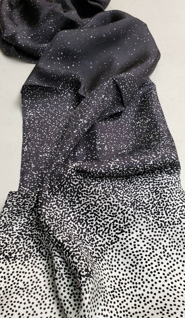 Najoom Silk Wrap Hijab - Black and White