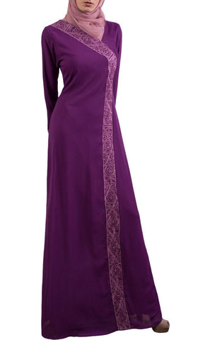 Nakhl Embroidered Formal Abaya Maxi Dress - Purple