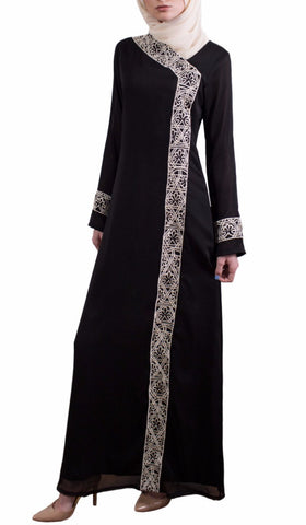 Nakhl Embroidered Formal Maxi Abaya Dress - Black - ARTIZARA.COM