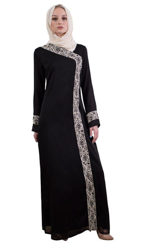 Nakhl Embroidered Formal Maxi Abaya Dress - Black
