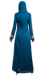 Nakhl Embroidered Formal Abaya Maxi Dress - Turquoise - ARTIZARA.COM