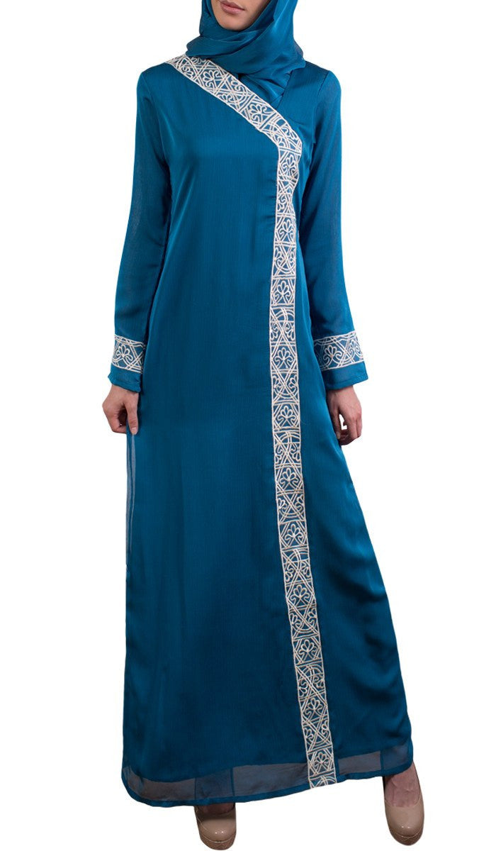 Nakhl Embroidered Formal Abaya Maxi Dress - Turquoise