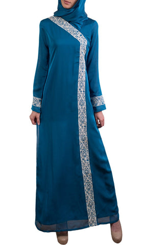Nakhl Embroidered Formal Abaya Maxi Dress - Turquoise - Preorder