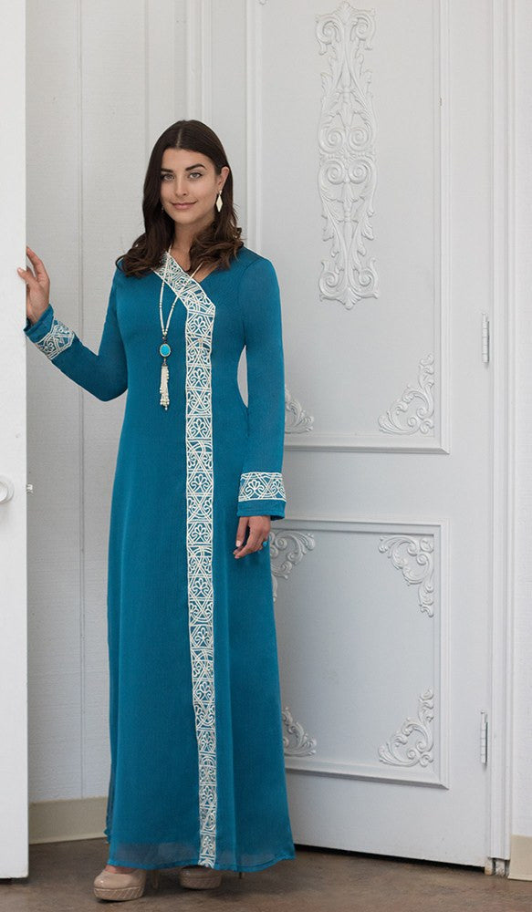 72f4e2fefaee27 Nakhl Embroidered Formal Abaya Maxi Dress - Turquoise - ARTIZARA.COM