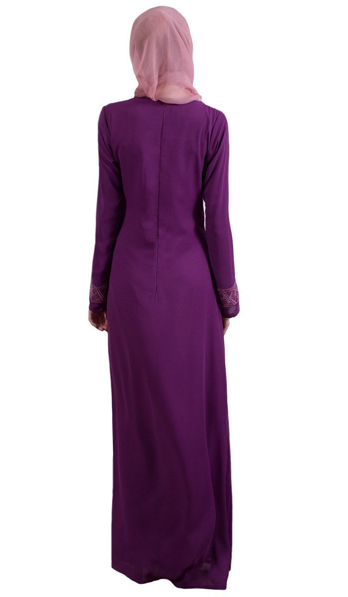 Nakhl Embroidered Formal Abaya Maxi Dress - Purple - ARTIZARA.COM
