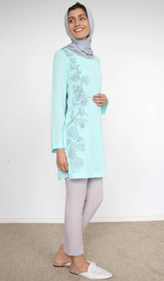Nargiz Embroidered Long Modest Tunic - Aqua