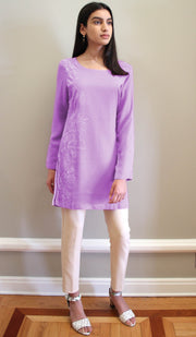 Nargiz Embroidered Long Modest Tunic - Lilac