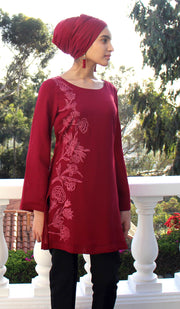 Nargiz Embroidered Long Modest Tunic - Maroon