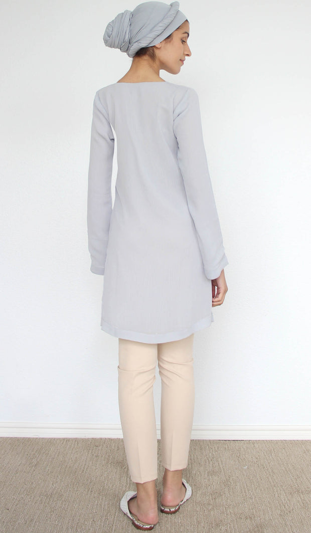 Nargiz Embroidered Long Modest Tunic - Silver