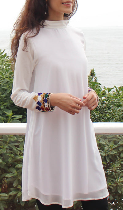 Nasrin Embroidered Long Modest Tunic - Off White