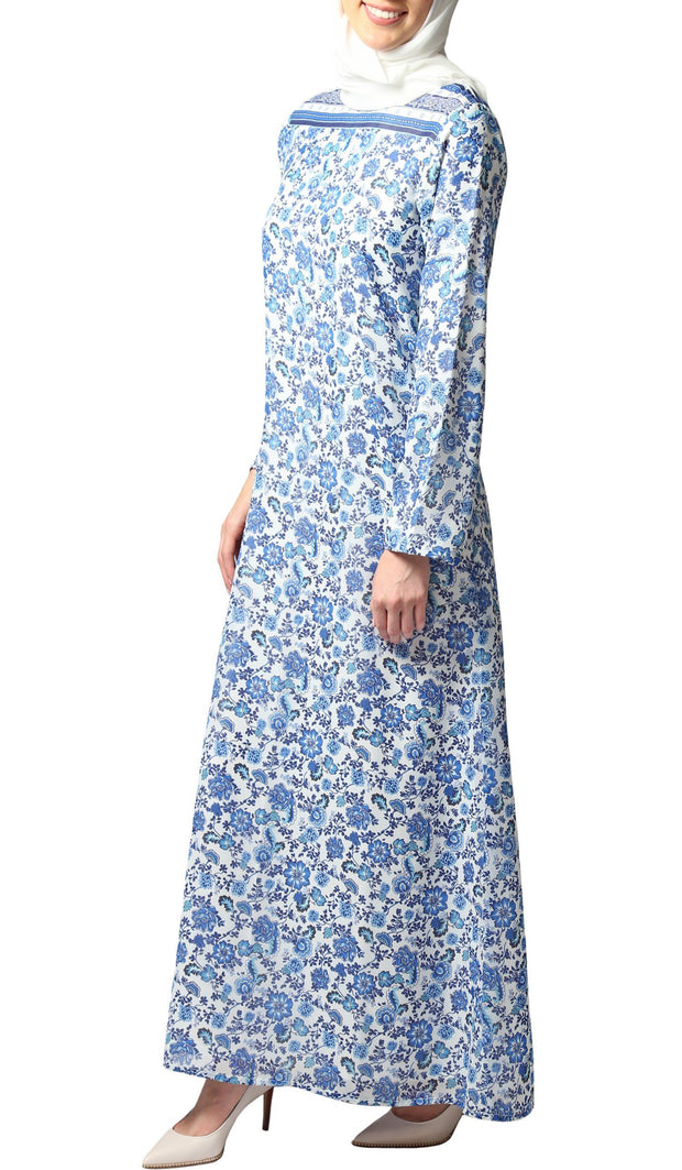 Naveen Floral Maxi Dress Abaya - Blue