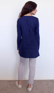 Navo Simple Mostly Cotton Top - Navy