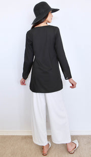 Navo Simple Mostly Cotton Top - Black