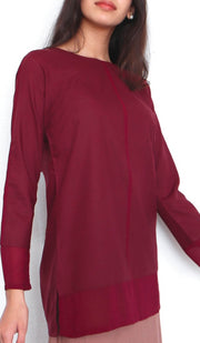 Navo Simple Mostly Cotton Top - Maroon