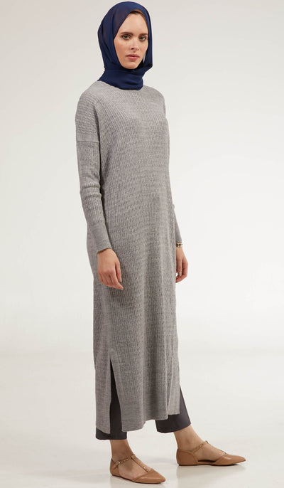 Nawal Fine Cable Knit Long Midi Dress - Heather Gray