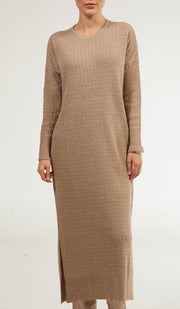 Nawal Fine Cable Knit Long Midi Dress - Taupe