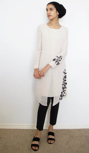 Nawar Embroidered Long Modest Tunic - Cream - PREORDER