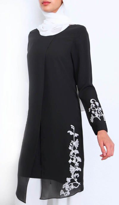 Nawar Embroidered Long Modest Tunic - Black