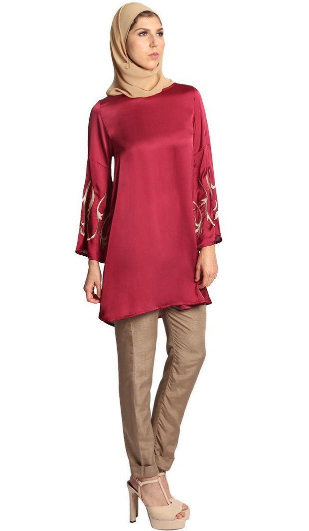 Naz Silky Embroidered Formal Long Tunic Dress - Maroon
