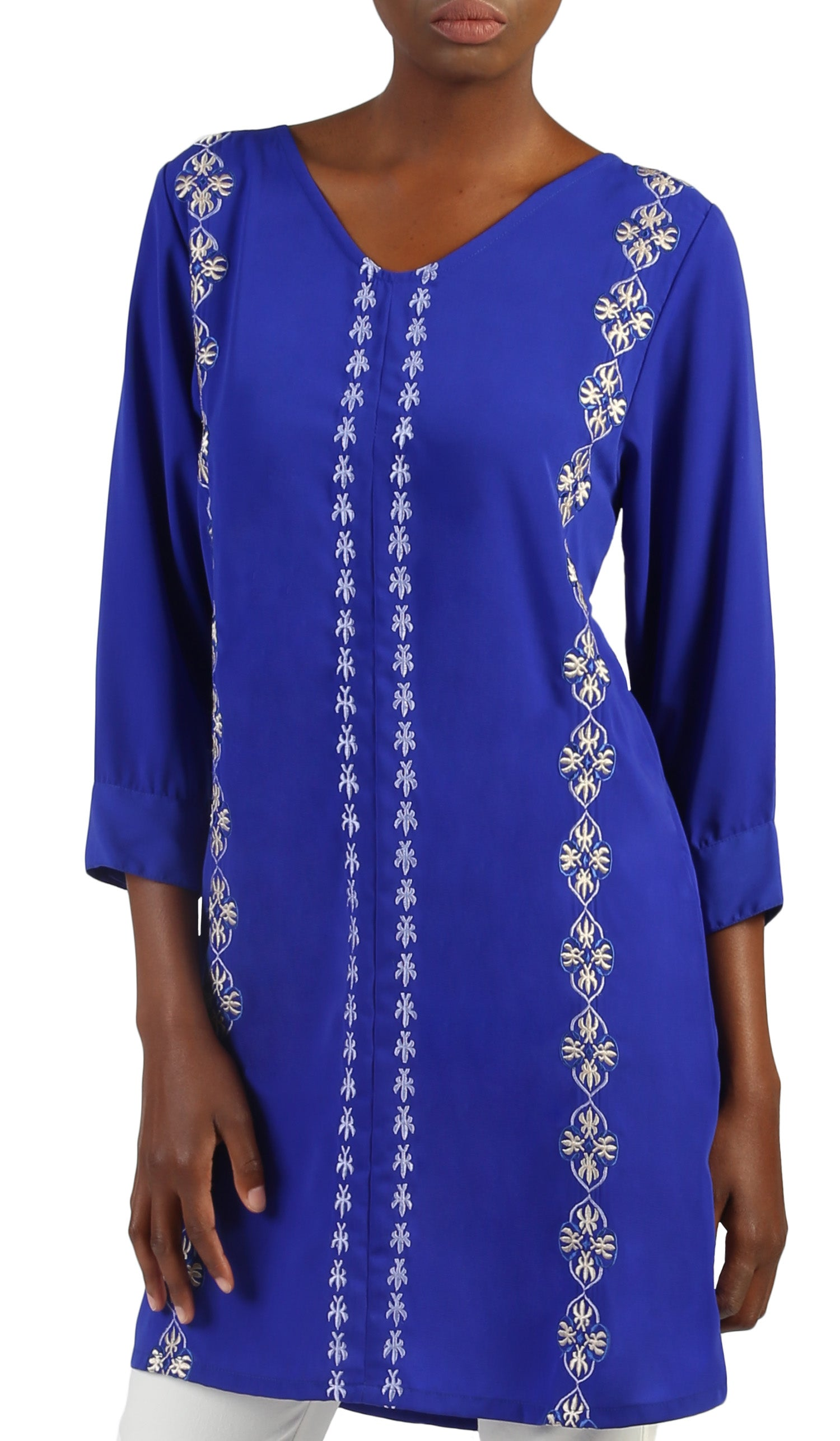 Nazar Embroidered Long Modest Tunic - Royal Blue