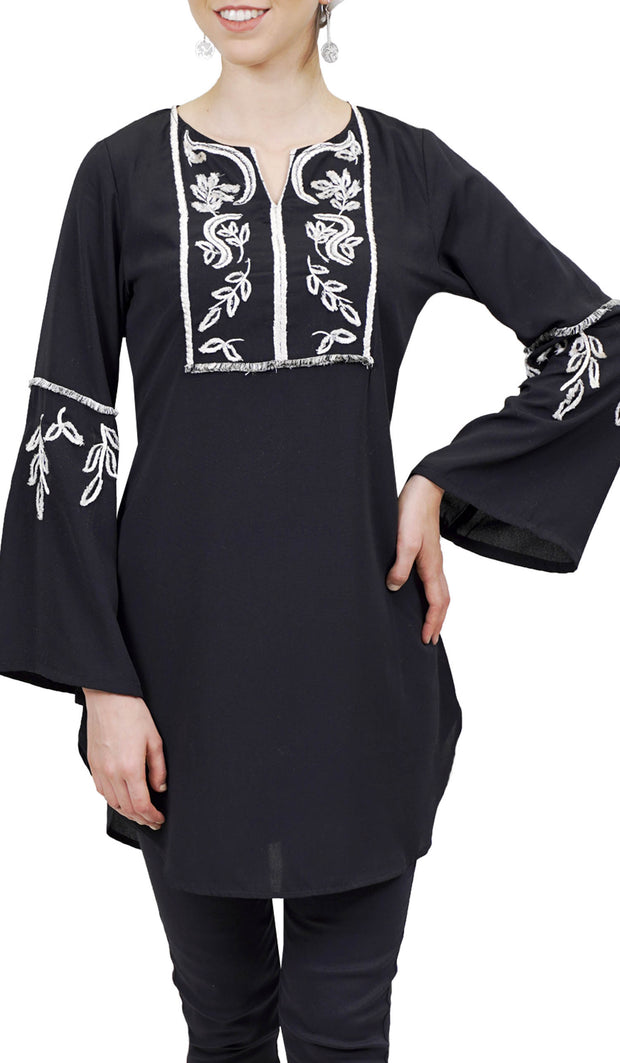 Nazli Embroidered Long Modest Tunic - Black