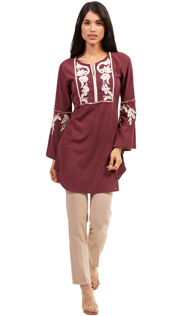 Nazli Embroidered Long Modest Tunic - Maroon