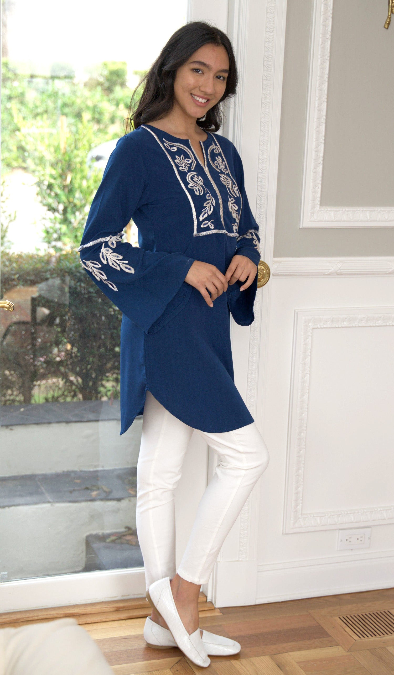 Nazli Embroidered Long Modest Tunic - Navy Blue