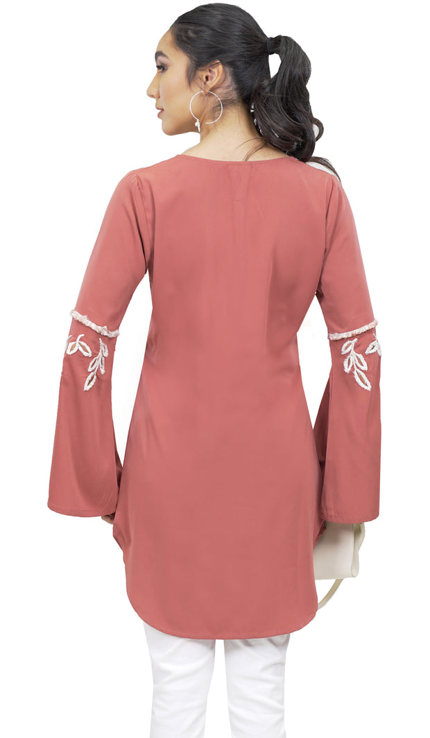 Nazli Embroidered Long Modest Tunic - Rose Pink