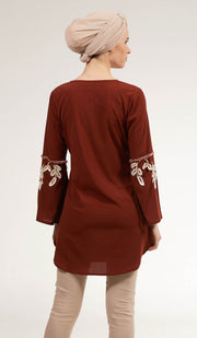 Nazli Embroidered Long Modest Tunic - Russet