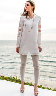 Nazmin Embroidered Long Tunic - Off White