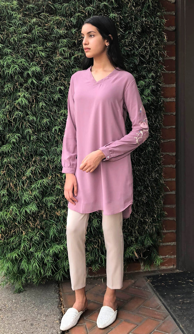 Nazmin Embroidered Long Tunic - Mauve Pink