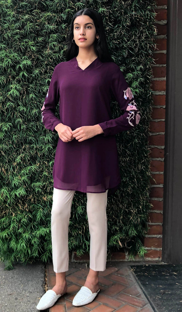 Nazmin Embroidered Long Tunic - Purple