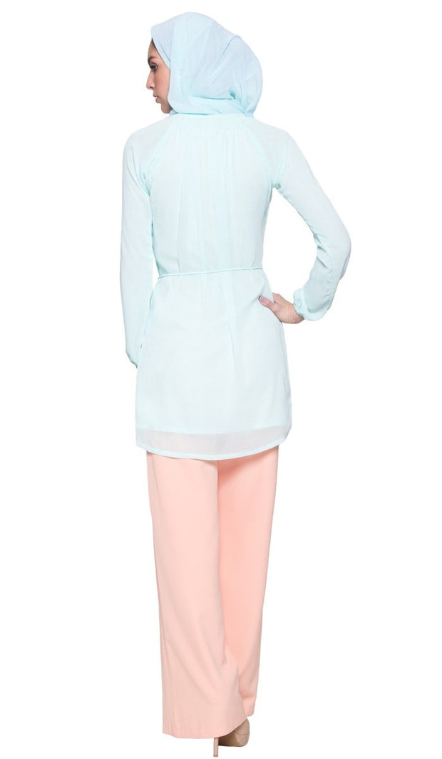 Niki Chiffon Modest Muslim Tunic Dress - Ice Blue