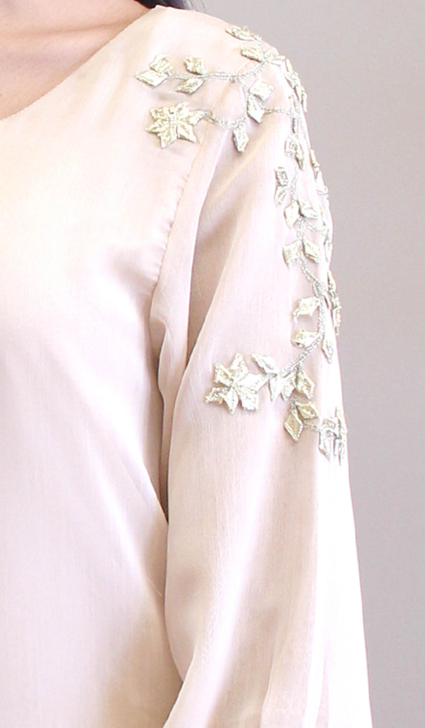 Nilufer Gold Embellished Long Modest Tunic - Off White