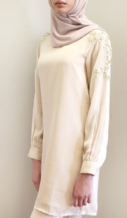 Nilufer Gold Embellished Long Modest Tunic - Cream