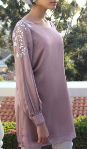 Nilufer Silver Embellished Long Modest Tunic - Mauve