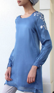 Nilufer Silver Embellished Long Modest Tunic - Blue