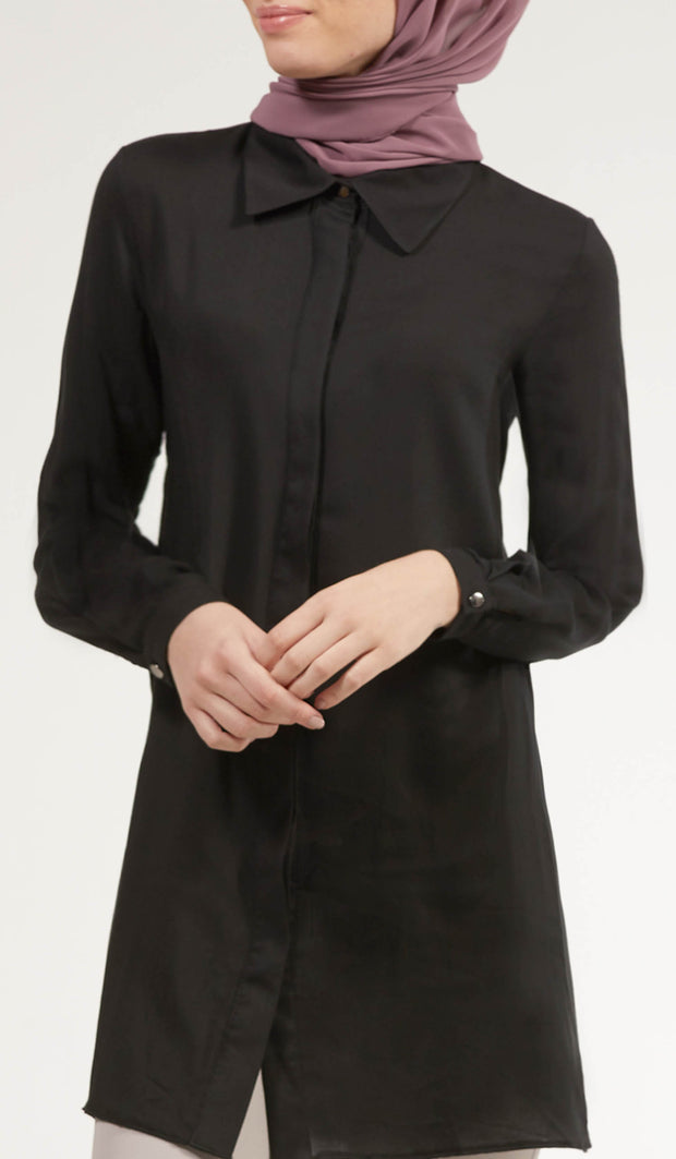 Nina Soft Collar Buttondown Dress Shirt - Black